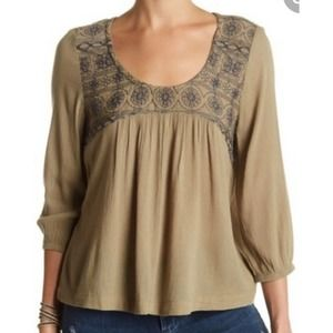 Susina top olive peasant long sleeve blouse